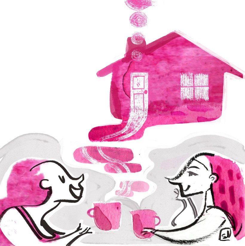 """Verso Casa"" home friend chat Fondazione G. B. Scalabrini women coffee amicizia pink traditional art Fondazione G. B. Scalabrini."