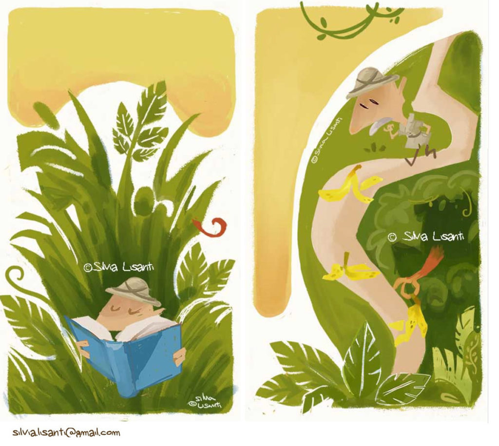 funny, children illustration, old man, jungle, nature, green, explorer, bananas, reading, book, monkey