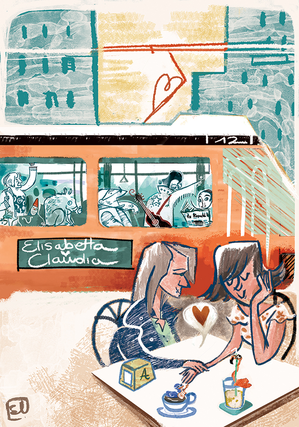 wedding illustration, partecipazione di nozze, Milan, love, amore, couple, coppia, heart, city
